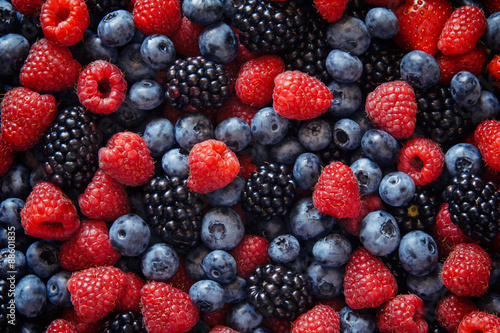 Healthy mixed fruit and ingredients from top view Poster