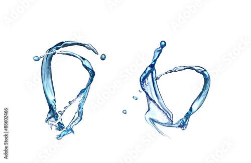 Papiers peints Eau collage Blue splash closeup shoot, isolated on white background
