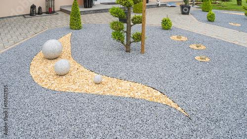 Poster Taupe Moderner Steingarten