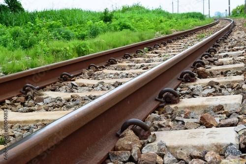 Staande foto Spoorlijn 奥羽本線の線路(単線)/山形県の庄内地方で奥羽本線の線路(単線)を撮影したローカルイメージの写真です。