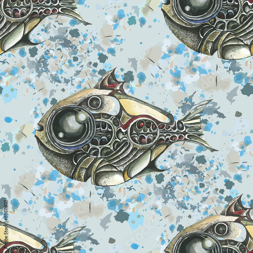 the-image-of-fish-in-the-style-of-steampunk-watercolor-stains-in-the-background-vector-seamless