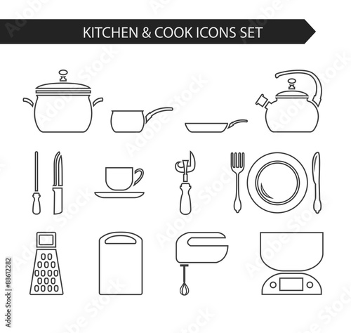4f68c98890 Thin line flat vector kitchen and cook icon. Design elements set for  website isolated on white background.