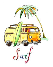 Watercolor Surfing Car