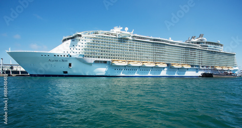 Cruise liner in Olympic port Wallpaper Mural