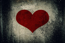 Red Heart Painted On Grunge Ce...