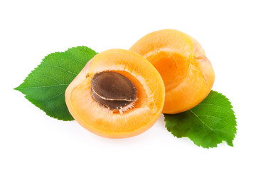 Apricot with Green Leaf Isolated