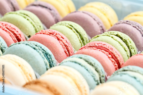 Staande foto Macarons Fresh Pastel Colored Macarons
