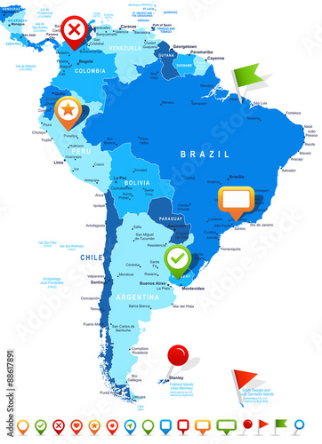 South America map - highly detailed vector illustration ...