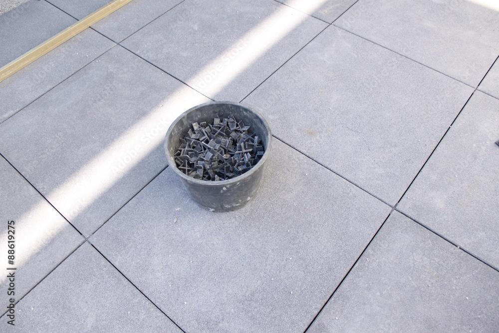 Terrassenplatten Verlegen Grossformatige Betonsteine Foto Poster