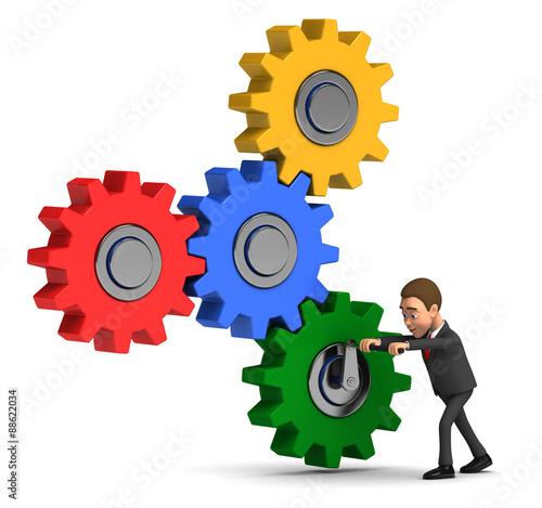 Fotografie, Obraz  Businessman spinning gears