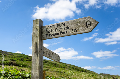 Coast Path Direction Sign in Cornwall and Blue Sky Poster