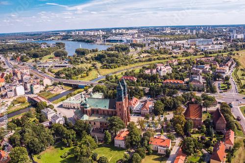 Obraz Poznań, Ostrów Tumski z Katedrą z lotu ptaka - fototapety do salonu