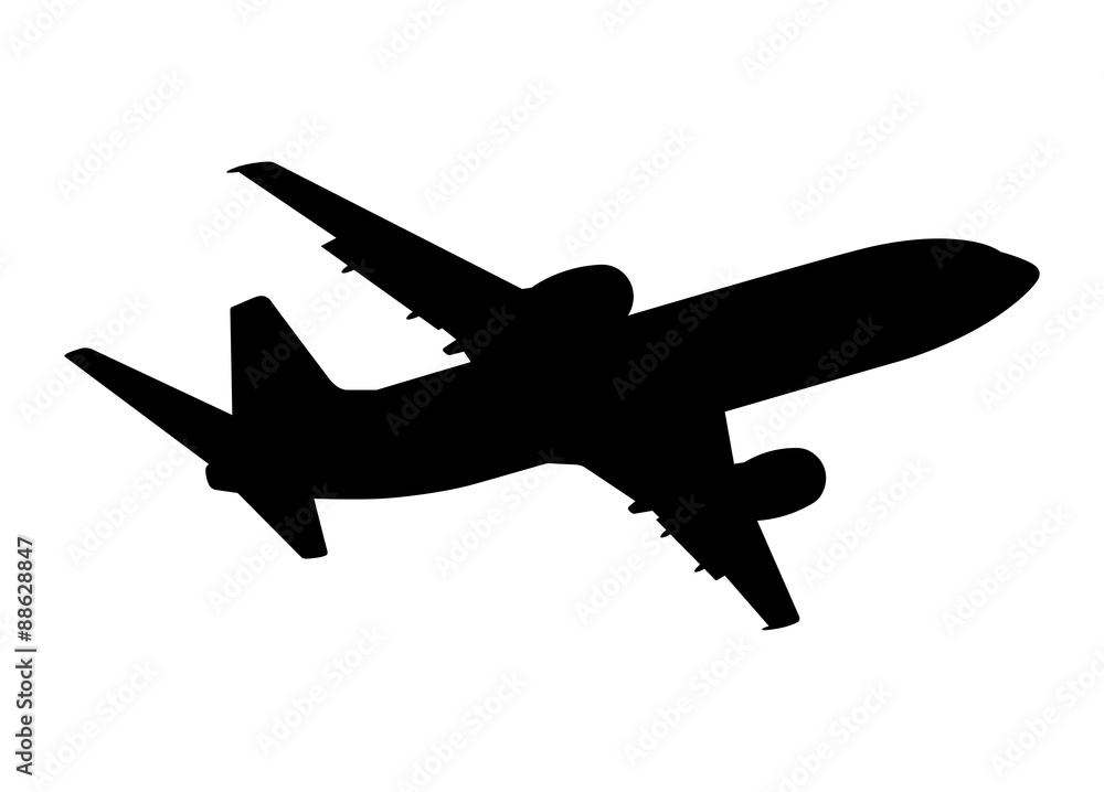 Fototapeta plane silhouette on a white background, vector illustration