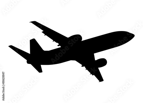 Photo plane silhouette on a white background, vector illustration