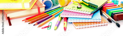 Fotografía Colorful school stationery isolated on white