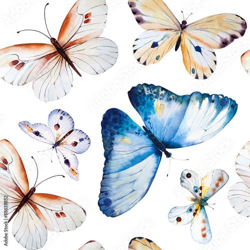 Akwarela motyle, bezszwowe kwiatowy wzór wzór backgrou