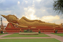 Lying Buddha In Wat That Luang Tai