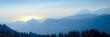 canvas print picture - Gebirgssilhouette bei Sonnenaufgang (Picos de Europa/Spanien)