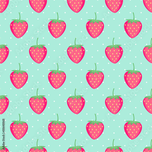 Seamless Background With Pink Strawberries Cute Vector Strawberry Magnificent Strawberry Pattern