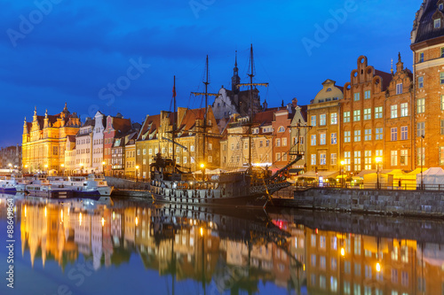 obraz dibond Old Town and Motlawa River in Gdansk, Poland