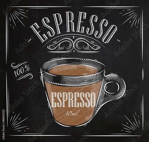 Poster espresso chalk Wallpaper Mural