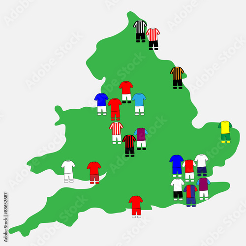 Photo  English League Clubs Map 2013-14 Premier League