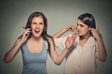 Two Women Loud, Obnoxious Rude Woman Talking Loudly On Cell Phone