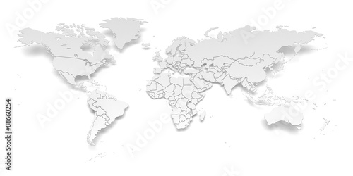 Paper world map with national borders