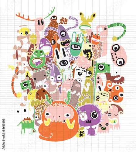 Foto op Canvas Op straat Halloween doodle ,Modern sketchy style image of of Monsters and cute alien friendly