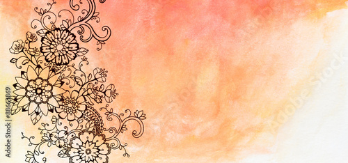 Hand Painted Watercolor And Flower Design Floral Background With Copyspace Drawn Flowers Are