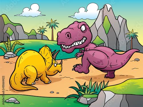 Vector illustration of Dinosaurs cartoon Billede på lærred