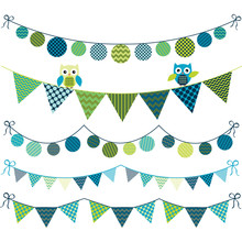 Bunting Owl Banner Party Set