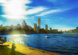 City embankment Yekaterinburg sunny summer day