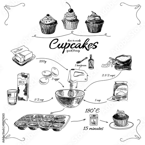 Fotografía  Simple cupcake recipe. Step by step. Hand drawn illustration.