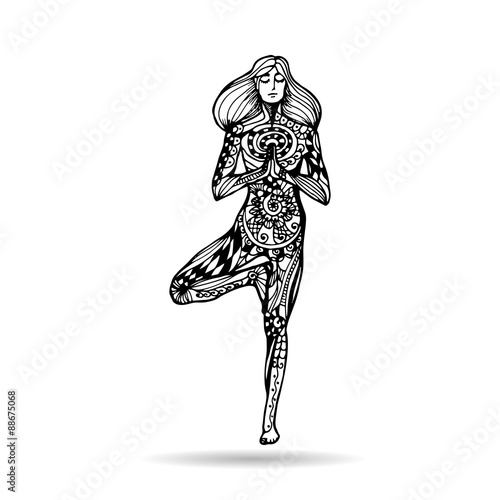 Vector Yoga Illustration In Zentangle Style Girl In Yoga Pose As Emblem For Yoga Studio Yoga