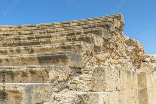 Foto op Canvas Rudnes Steps of ancient stone amphitheater ruins in Paphos, Cyprus.