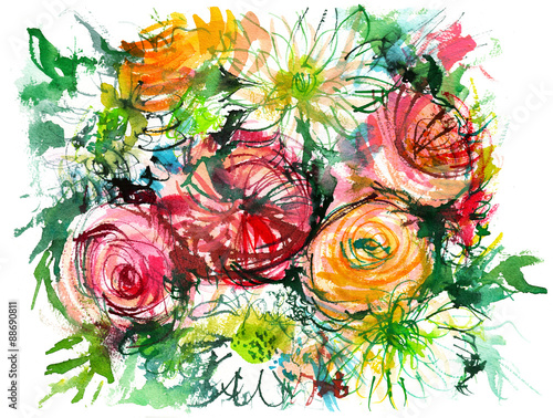 bouquet of flowers with chamomile/ buttercup/ rose/ watercolor painting Canvas Print
