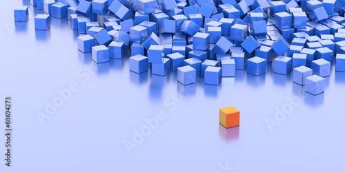 Infinite cubes background, original 3d illustration.