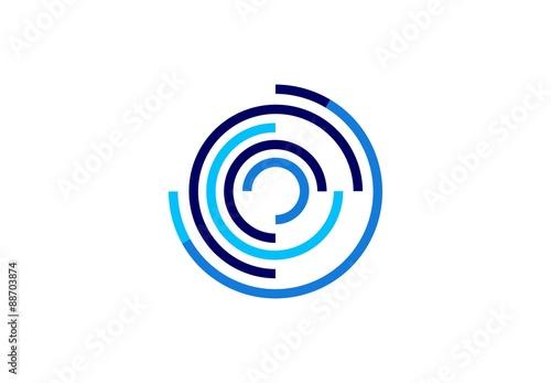 Fotografie, Obraz  circle,logo,sphere,globe,stripe,floral,circular,media,business,modern symbol ico