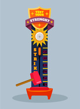 Test Your Strength. Vector Fla...