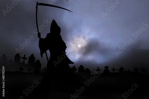 misty mort 5. grim reaper in graveyard Canvas Print