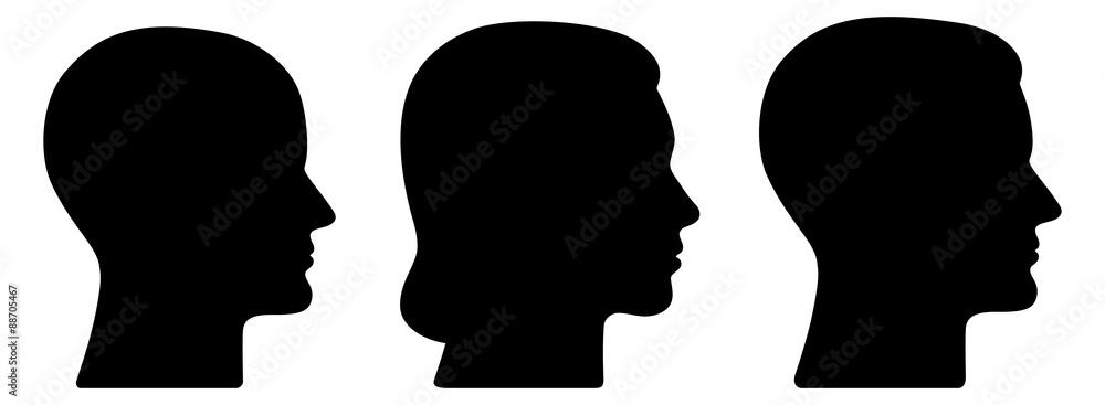 Fototapeta Set: 3 menschliche Vektor-Gesichter im Profil: weiblich, männlich, geschlechtsneutral / schwarz, Vektor, freigestellt
