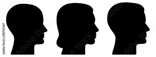 Set: 3 menschliche Vektor-Gesichter im Profil: weiblich, männlich, geschlechtsneutral / schwarz, Vektor, freigestellt - fototapety na wymiar