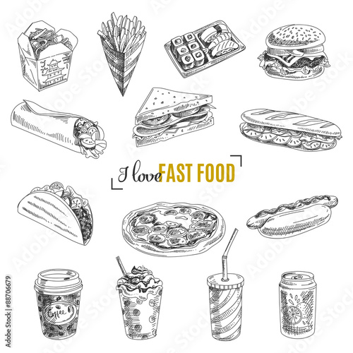 Vector set of fast food. Illustration in sketch style. Poster