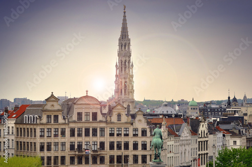 Spoed Foto op Canvas Brussel Cityscape of Brussels during sunset