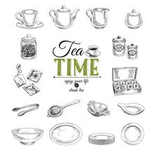 Vector Hand Drawn Illustration With Tea Set.