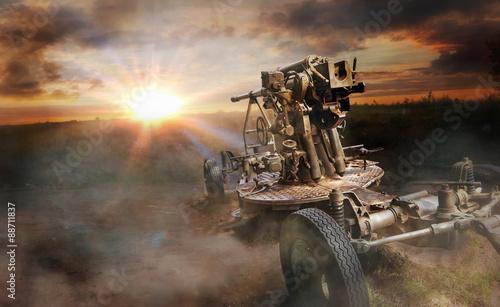 Photo Old soviet  antiaircraft gun