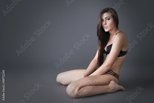 Studio Photo Of Sexy Brunette Woman In Black Lingerie Photo Shoot Executed In The