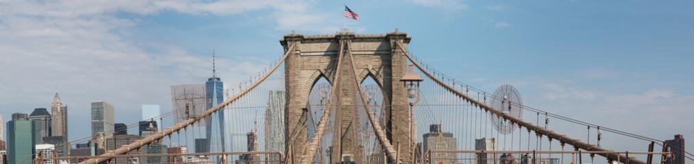 Panoramic View Brooklyn Bridge and Skyline
