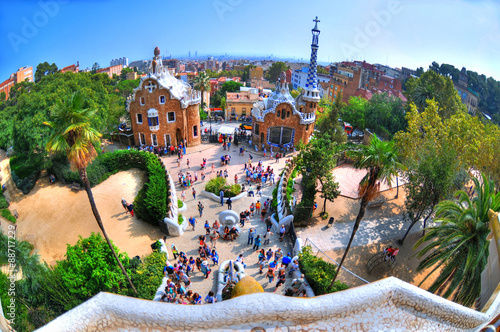 Papiers peints Barcelona BARCELONA SPAIN, Sep 26: HDR image The Ginger bread house in Park Guell, which was designed by Gaudi. The photo was taken with a fisheye lens at Sep 26, 2014 in Barcelona, Spain